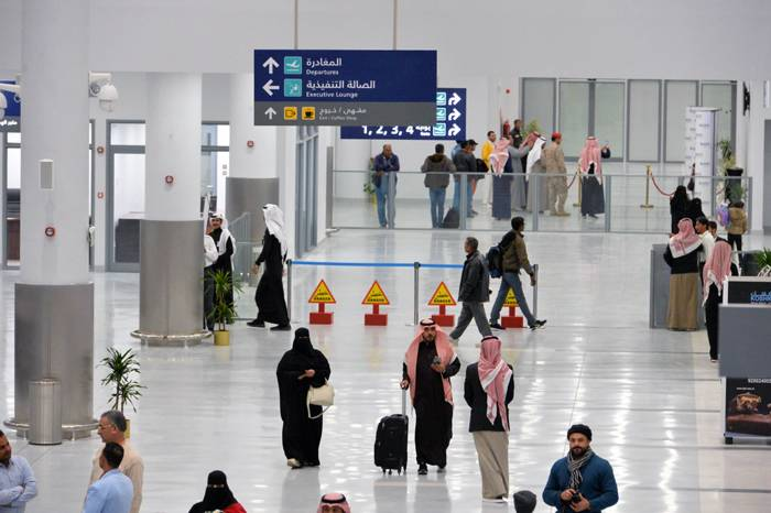 Passengers at the new Arar Airport following the Saudi Arabian Airlines arrival and departure flights from and to Riyadh during the trial operation phase on Wednesday. — Courtesy photo
