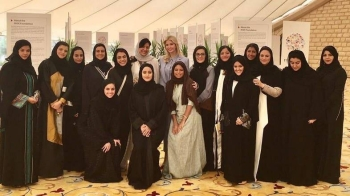 Ivanka Trump is seen meeting with Saudi women leaders during her last visit to the Kingdom in this file picture. (courtesy Photo)