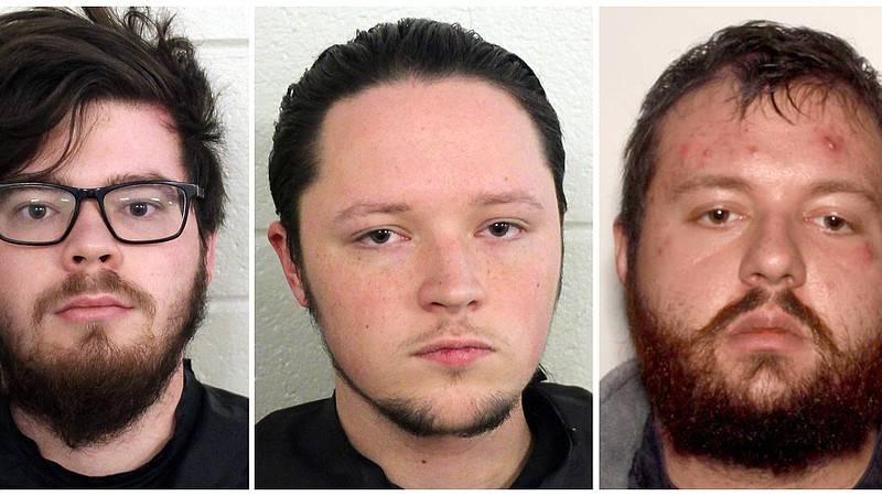 From left: Luke Austin Lane, Jacob Kaderli and Michael Helterbrand are accused of plotting