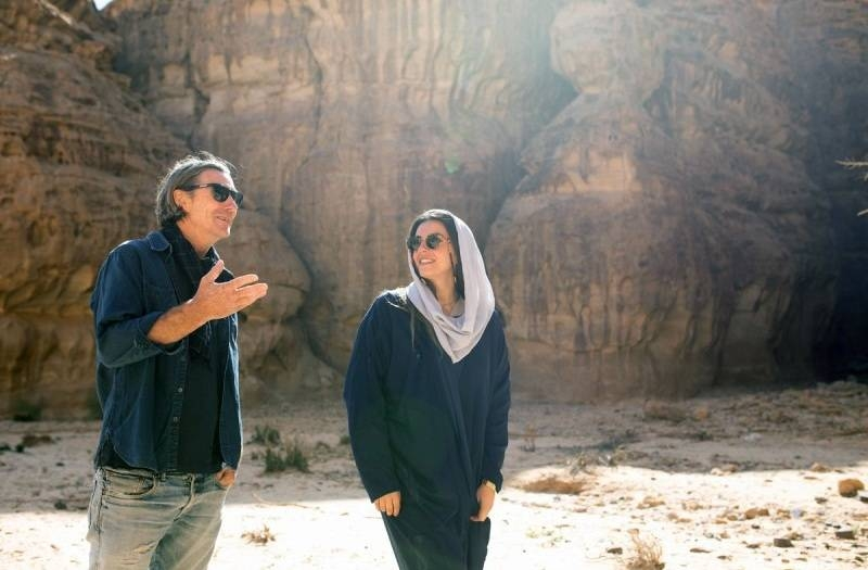 Neville Wakefield and Raneem Farsi, curators of Desert X AlUla, onsite. — courtesy RCU.