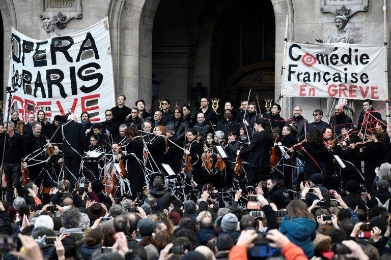 Musicians perform at the Paris Opera in support of the strike against President Emmanuel Macron's pension reforms. — AFP