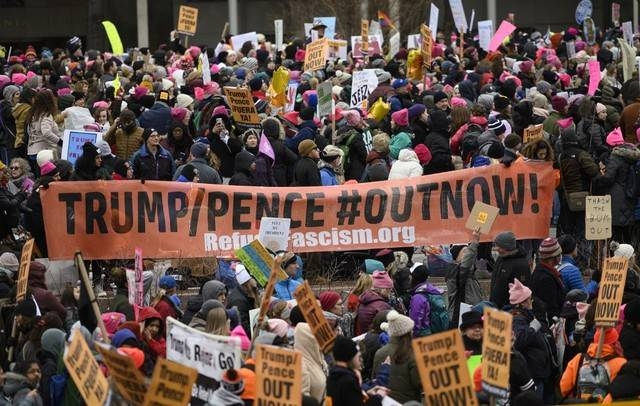 Demonstrators gather for the 4th annual Women's March in Washington, DC, on January 18, 2020. -AFP