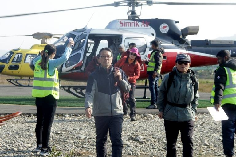 Helicopters were sent out on Saturday to rescue about 200 people stranded around Annapurna and other nearby mountains after the incident. — Courtesy photo