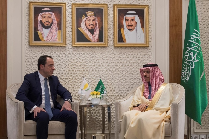 Minister of Foreign Affairs Prince Faisal Bin Farhan holds talks with his Cypriot counterpart Nikos Christodoulides at his office in Riyadh on Sunday. — SPA
