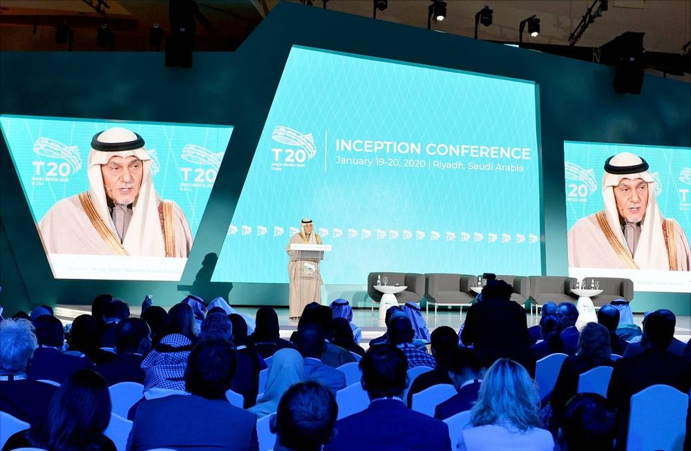 Prince Turki Al-Faisal, chairman of KFCRIS, addresses the inaugural session of the Think20 (T20) Inception Conference at Apex Center in Riyadh on Sunday. — SPA