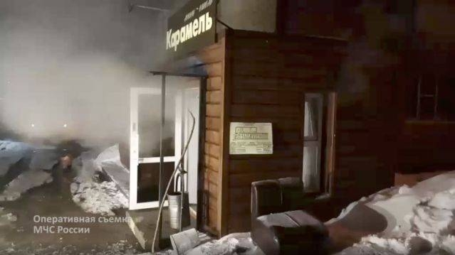 In this image made from video provided by Russian Emergency Situations Ministry press service, shows a view of a damaged hotel of nine rooms located in the basement of a residential building which was flooded with boiling water after a pipe ruptured in Perm, Russia, on Monday. — Courtesy photo