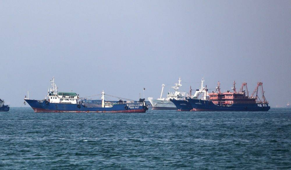 Cargo ships are seen in the Strait of Hormuz in this file photo. — AFP