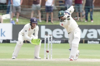 South Africa's Keshav Maharaj hit England's Root for three fours and two sixes in an over which ended with four byes, costing 28 in total, in a late flourish to the innings.