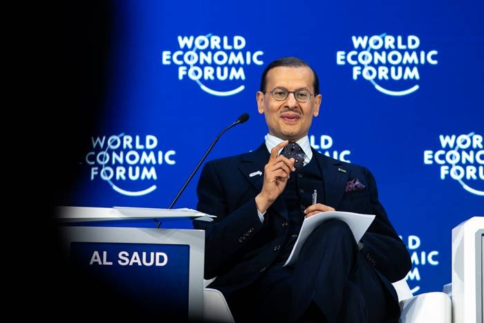 """Minister of Finance Muhammad Al-Jadaan speaks during the WEF session on """"G20 Priorities in Davos on Thursday. — Courtesy WEF"""
