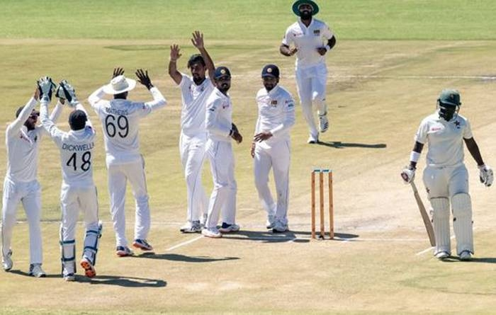 Suranga Lakmal took four for 27 to set up Sri Lanka for a 10-wicket win over Zimbabwe in the first Test in Harare on Thursday.