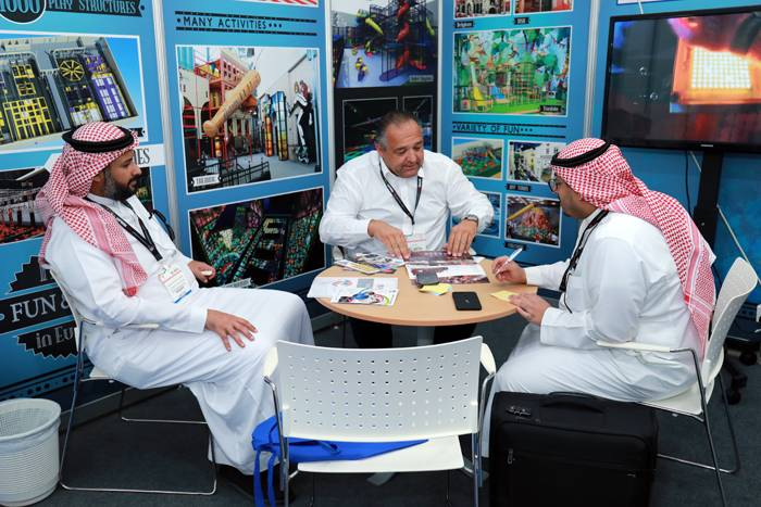 Members at a stand in the Saudi Entertainment and Amusement (SEA) expo in April 2019 in Jeddah.