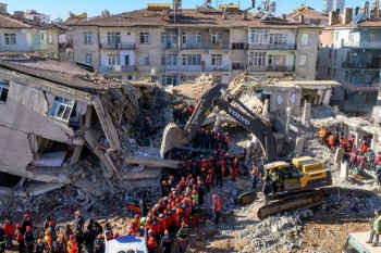 Nearly 4,000 rescue workers combed through debris in freezing temperatures, helped by mechanical diggers, in vain hopes of finding anyone alive. — Courtesy photo