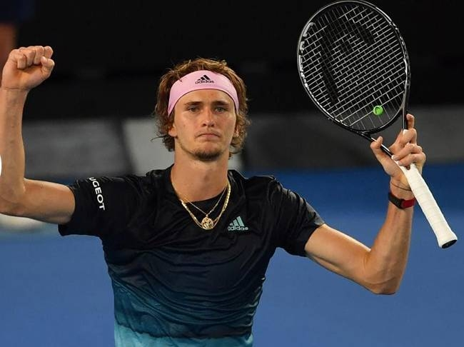 Germany's Alexander Zverev beat Andrey Rublev of Russia to reach the Australian Open quarterfinals for the first time on Monday.