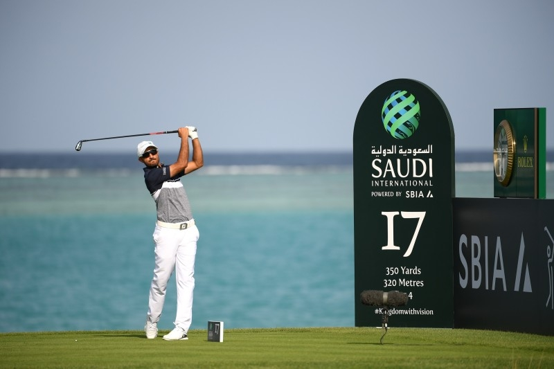 Othman Al Mulla of Saudi Arabia tees off on the 17th hole during Day two of the Saudi International at the Royal Greens Golf & Country Club on Feb.1, 2019 in King Abdullah Economic City, Saudi Arabia.