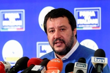 Leader of Italy's far-right League party Matteo Salvini speaks after polls close for the Emilia-Romagna regional election, in Bologna, Italy, in this file picture. — Courtesy photo