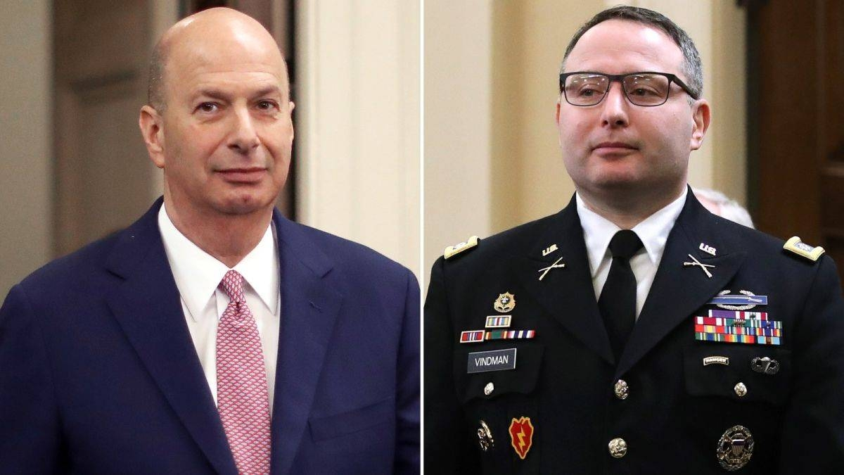 US ambassador to the European Union Gordon Sondland, left, and  Lieutenant Colonel Alexander Vindman, a decorated soldier who worked at the National Security Council, are seen in this file combination picture. — Courtesy photo