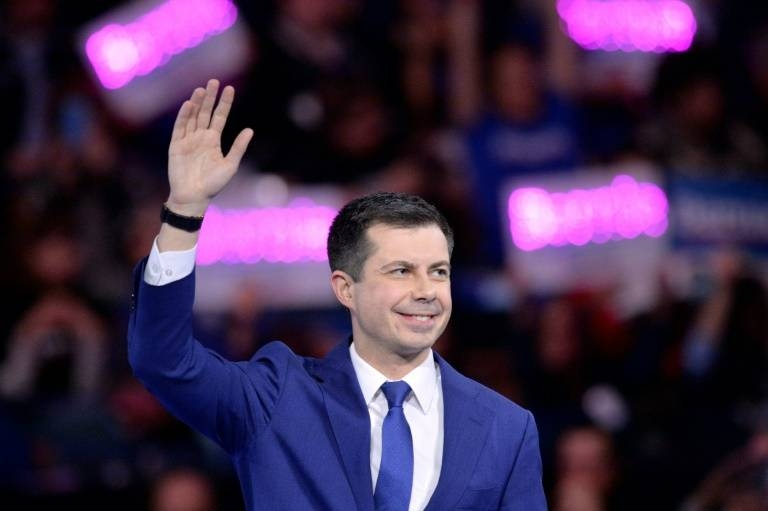 Pete Buttigieg, former mayor of South Bend, Indiana, at a dinner for presidential candidates hosted by the state Democratic Party in Manchester, New Hampshire. — AFP