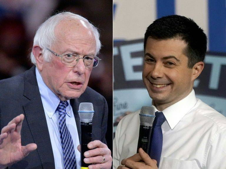 Bernie Sanders, left, and Pete Buttigieg came top of the first contest in Iowa, giving each important momentum. — AFP