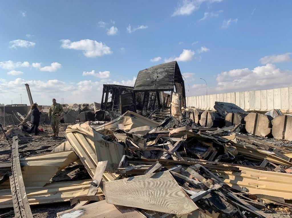 A picture taken on Jan. 13, 2020 during a press tour organized by the US-led coalition fighting the remnants of Daesh (the so-called IS), shows a view of the damage at Ain Al-Asad military airbase housing US and other foreign troops in the western Iraqi province of Anbar. — AFP