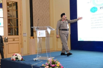 One of the speakers at the 5th International Traffic Safety Forum and Exhibition at Sheraton Hotel in Dammam on Monday. — SPA