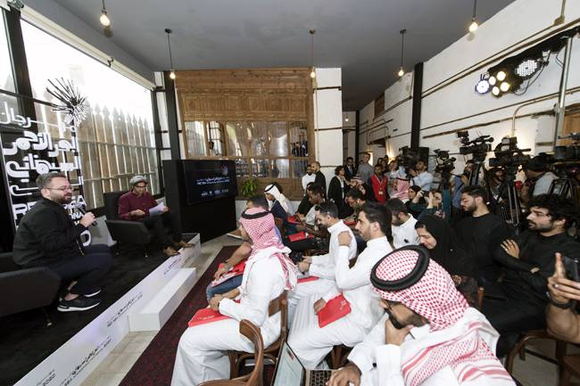 Red Sea Film International Festival Director Mahmoud Sabbagh and Artistic Director Hussain Currimbhoy, at a press conference in Jeddah, Monday.