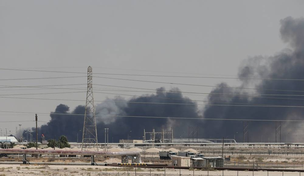 Smoke is seen following a fire at Aramco facility in the eastern city of Abqaiq, Saudi Arabia, in this Sept. 14, 2019 file picture. — Reuters