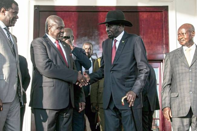 South Sudan President Salva Kiir and rebel leader Riek Machar agreed on Thursday to form a unity government, a long-delayed step towards ending six years of war. — AFP
