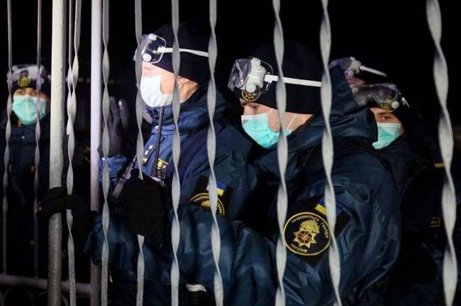 Security has been beefed up in Novi Sanzhary where evacuees from coronavirus-hit China are being quarantined . — AFP