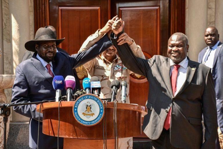 South Sudan President Salva Kiir, left, and rebel leader Riek Machar in Juba on Dec. 17 last year. - AFP