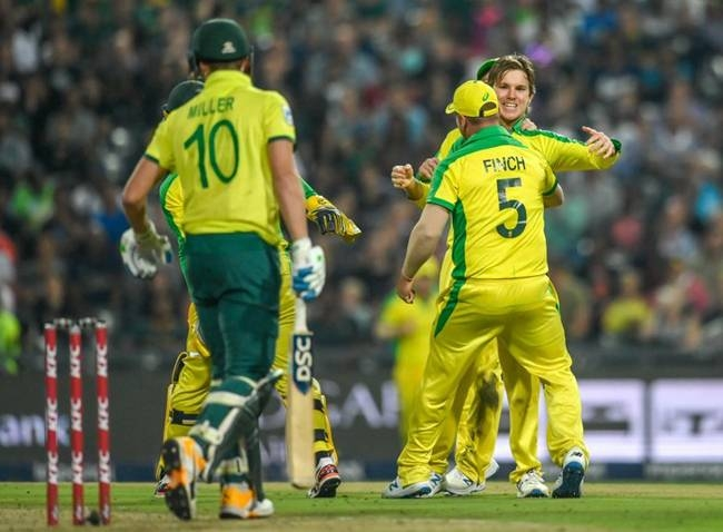 Ashton Agar took a hat-trick as Australia crushed South Africa by 107 runs in the first Twenty20 international at the Wanderers Stadium on Friday.