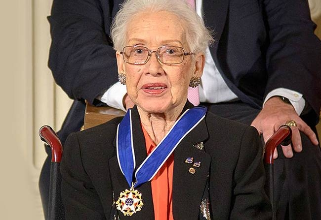 Katherine Johnson, a ground-breaking black NASA mathematician whose life was portrayed in the movie