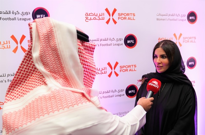 SFA Managing Director Shaima Saleh Alhusseini speaks to media after the event.