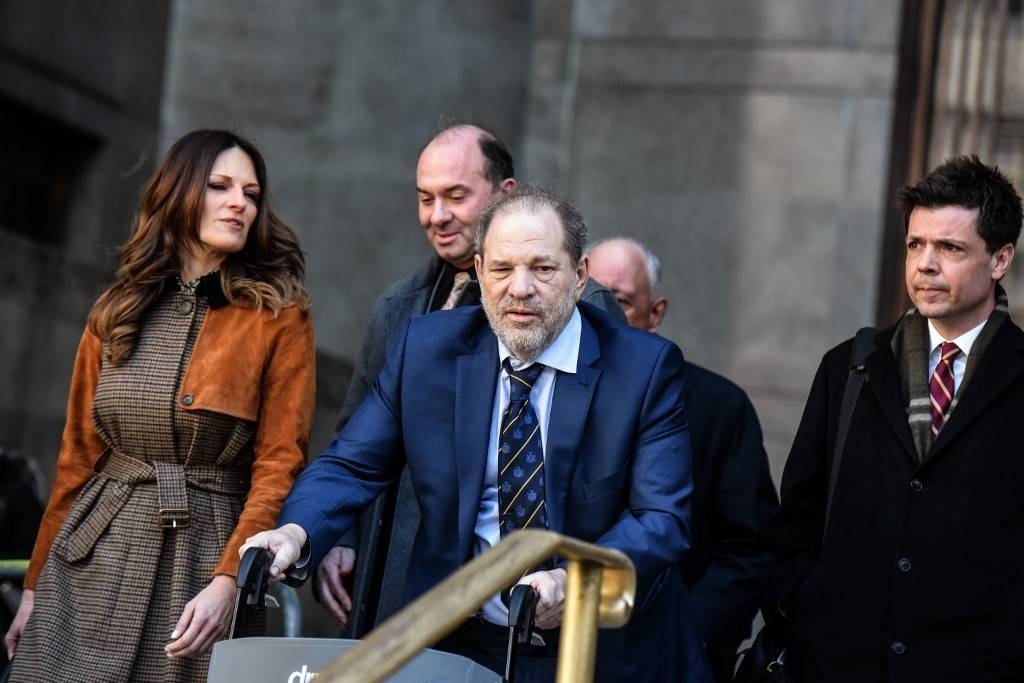 Movie producer Harvey Weinstein departs his sexual assault trial at New York Criminal Court with his lawyer Donna Rotunno, left, in New York City in this Feb. 14, 2020 file photo. — AFP