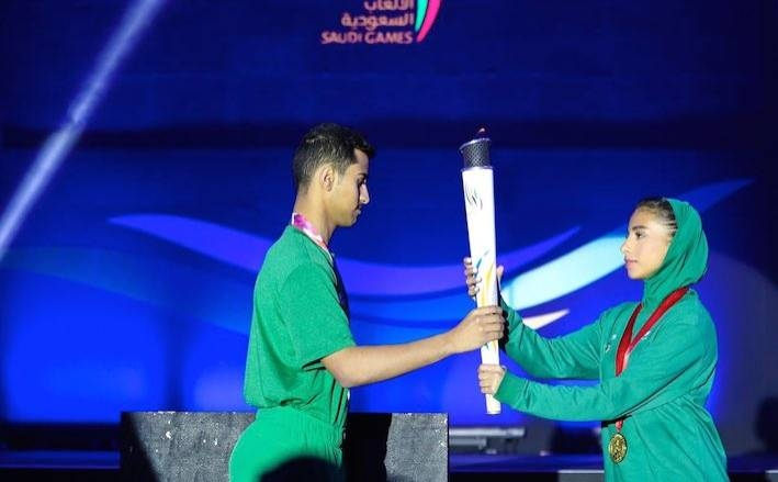 Saudi athletes at the launch of the Saudi Olympic Games on Wednesday.