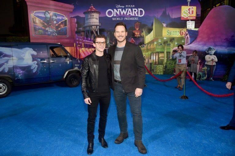 Tom Holland, left, and Chris Pratt attend the world premiere of Pixar/Disney animated film