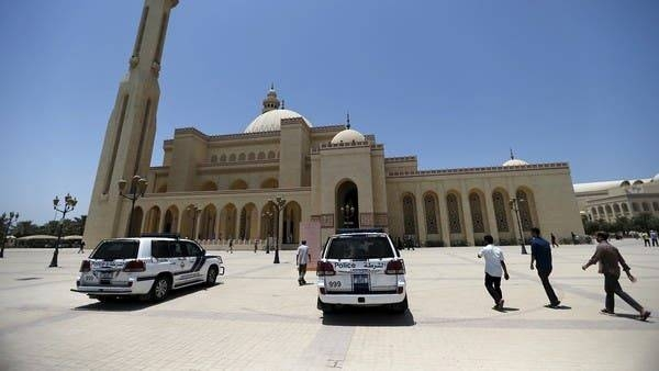Police patrol vehicles are parked outside the main entrances of Bahrain Sunni Grand Mosque. -- Courtesy photo