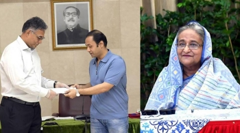 Basundhara Group Managing Director Sayem Sobhan Anvir handing over a check of Tk100 million to Bangladesh Prime Minister's Office.