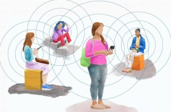 """A new system relies on short-range Bluetooth signals emitted from people's smartphones to trace who they've been in contact with. These signals represent random strings of numbers, likened to """"chirps"""" that other nearby smartphones can remember hearing, offering a way to find people who may have been in contact with people who have tested positive for COVID-19. — Photo courtesy Christine Daniloff, MIT"""