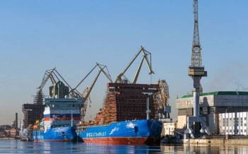 The first three Project 22220 nuclear icebreakers fitting out. File picture by Baltic shipyards.