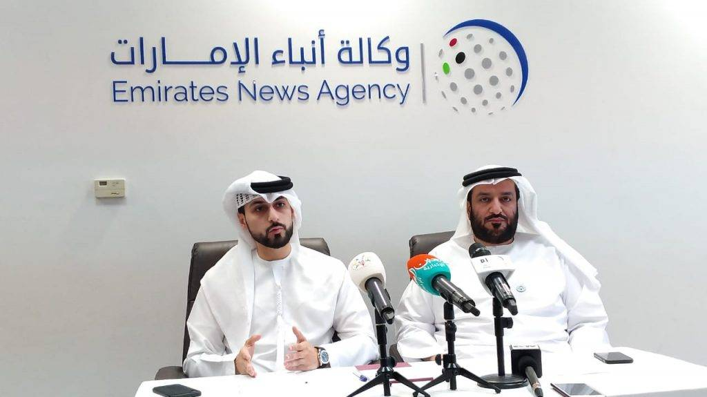 Mohammed Jalal Al Rayssi, Executive Director of WAM, right, explains WAM's vision moving forward following the inclusion of 5 new languages at their news service. With him at the press conference is WAM's Head of the Languages at the Editorial Section, Ibrahim Shukralla, left. — WAM photo