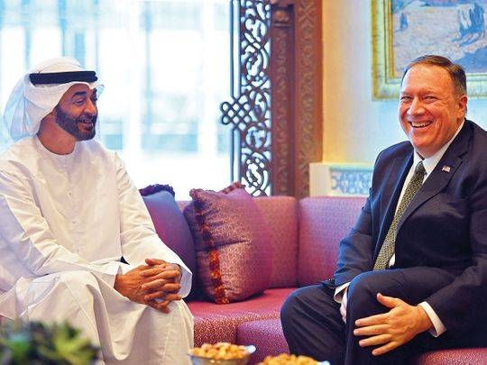 Abu Dhabi Crown Prince Sheikh Mohammed Bin Zayed Al Nahyan, left, is seen with  US Secretary of State Mike Pompeo in this file picture. — Courtesy photo