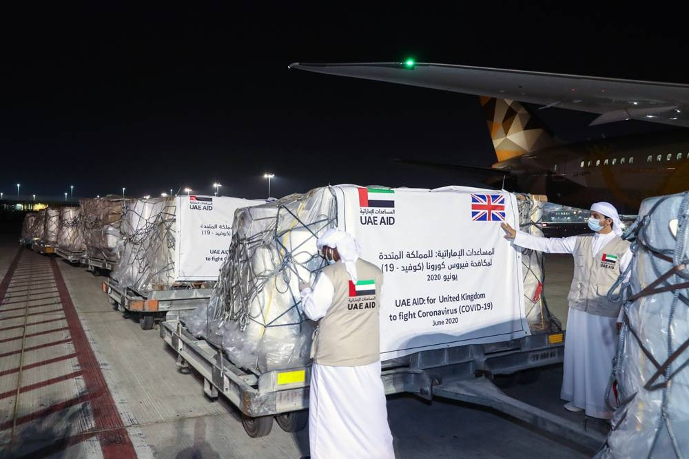 The UAE has donated 6.6 tons of material to the United Kingdom that will enable the country to produce millions of items of personal protective equipment, PPE.