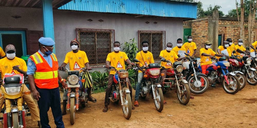 Some 300 drivers, including motorcycle taxi drivers, in Bangui, Central African Republic, received information about preventive measures to fight the coronavirus. — courtesy MINUSCA/Biliaminou A. Alao