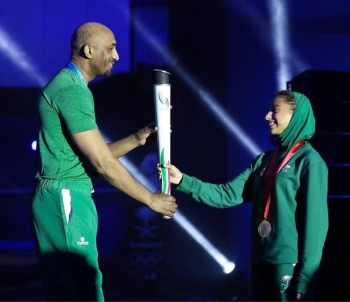Saudi athletes at the launch of the Saudi Olympic Games on February 2020.