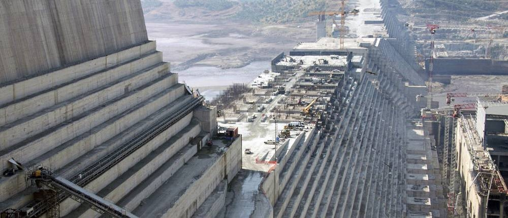 A 2017 file photo shows the construction site of the Grand Ethiopian Renaissance Dam in Guba in the North West of Ethiopia,