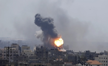 A file photo of an earlier Israeli airstrike on Gaza City.