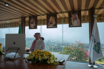 Minister of Tourism Ahmed Al-Khateeb at the virtual meeting of the UNWTO Commission for Mideast. — Courtesy photo