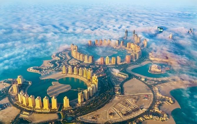 An aerial view of the Pearl-Qatar island in Doha through the morning fog. — Courtesy photo