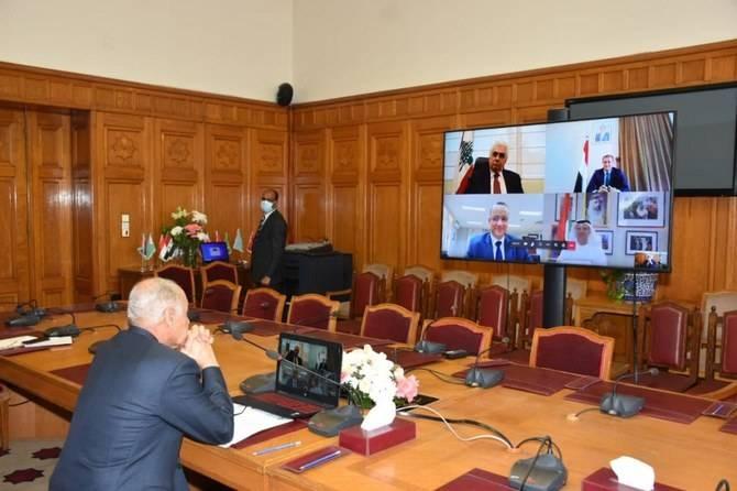 Arab League chief Ahmed Abul Gheit chairs an earlier virtual meeting in Cairo in this file photo.