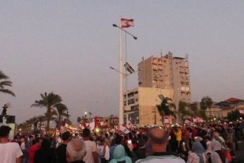 Protestors in Tyre in southern Lebanon demonstrate against government corruption and austerity measures in this file photo.